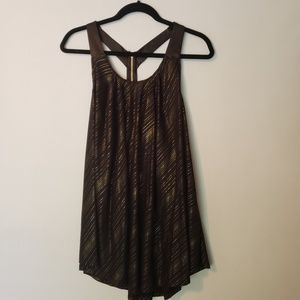 Flowy Black and Gold Top with Zipper T-back